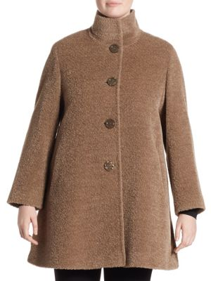 Four Button Alpaca Coat by Cinzia Rocca, Plus Size