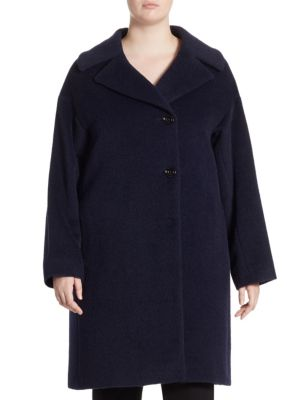 Two Button Side Coat by Cinzia Rocca, Plus Size