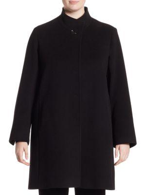 Hidden Closure Coat by Cinzia Rocca, Plus Size