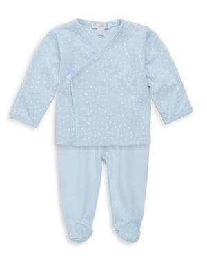 Baby Boy's Two-Piece Starry Night Kimono Cotton Top and Pants Set