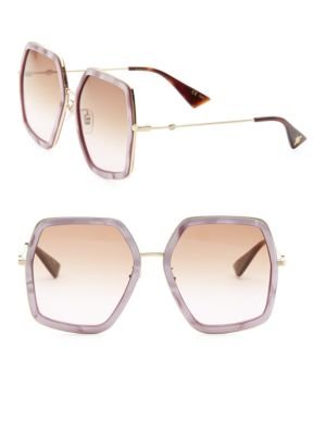 56MM Geometric Sunglasses