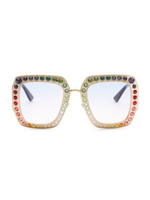 52MM Rainbow Crystal-Studded Square Sunglasses