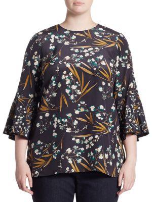 Sidra Silk Blouse by Lafayette 148 New York, Plus Size