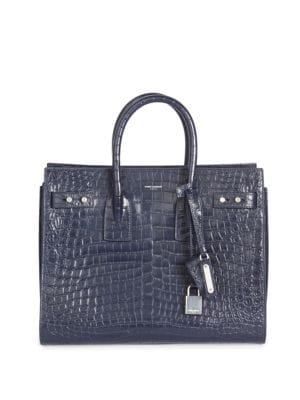 Small Sac De Jour Croc-Embossed Leather Carryall Bag