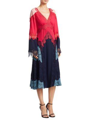 Emeline Lace Silk Knee-Length Dress
