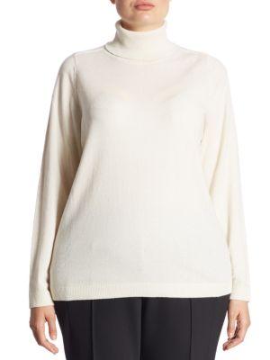Cashmere Sequin Trim High Neck Sweatshirt by Lafayette 148 New York, Plus Size