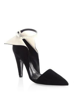 Kaiya Winged Suede Ankle-Strap Pumps