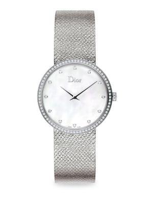 La D de Dior Diamond, Mother-Of-Pearl & Stainless Steel Watch