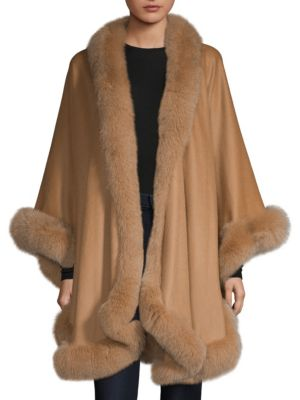 SOFIA CASHMERE Fur-Trimmed Cashmere Cape
