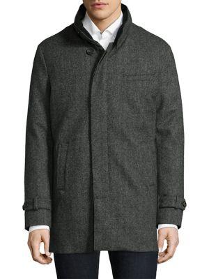 Herringbone Cashmere Wool Carcoat