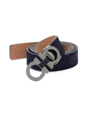 Etched Double Gancini Suede Belt