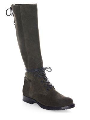 Natalie Knee-High Suede Combat Boots