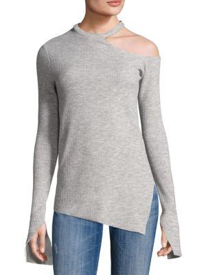 Open Shoulder Asymmetrical Hem Top