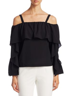 Ruffle Cold-Shoulder Blouse