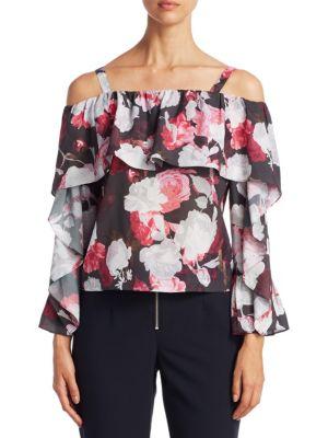 SCRIPTED Floral-Print Off-The-Shoulder Blouse