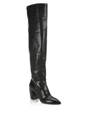 Scrunch Leather Block Heel Boots