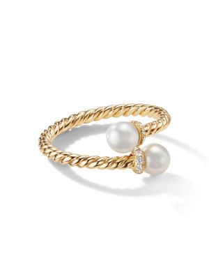 Petite Solari Bypass Ring with Cultured Pearl & Diamonds in 18K Yellow Gold