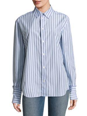 Striped Button-Down Cotton Dress Shirt by FRAME