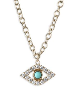 XL Evil Eye Diamond & Turquoise Pendant Necklace