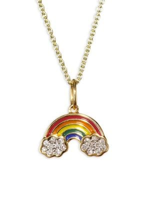 color gold micro design necklace pendant item summer pave girl rainbow fashion