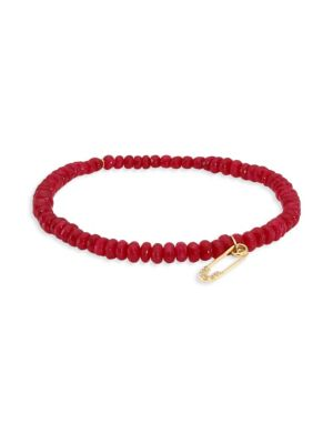 Safety Pin Diamond & Red Jade Bead Bracelet