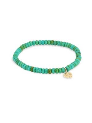 Sydney Evan 8mm Larimar Bead & 14k Monstera Leaf Bracelet HNglk9l51
