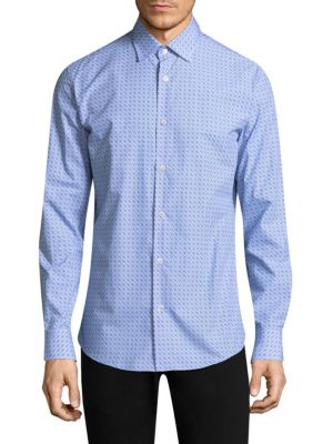 Logo Cotton Button-Down Shirt