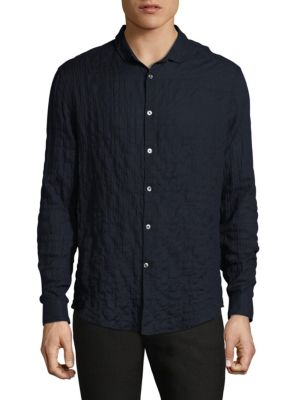 Slim-Fit Wrinkled Casual Button-Down Shirt