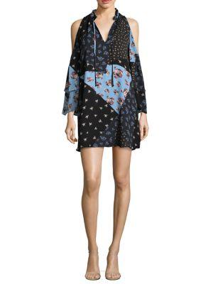 Anastasia Patchwork Cold-Shoulder Silk Dress