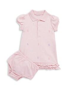 폴로 랄프로렌 여자 아기용 러플 폴로 원피스 & 블루머 세트 Polo Ralph Lauren Baby Girls Ruffled Polo Dress & Bloomers Set