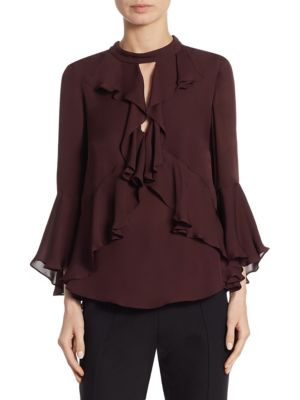 Thea Silk Bell Sleeve Blouse by
