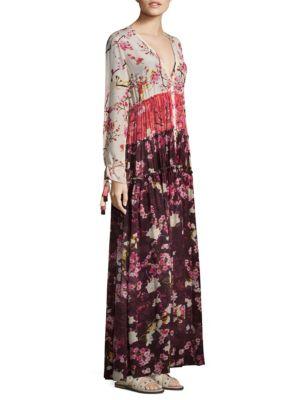 Floral Silk Floor-Length Dress
