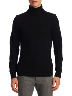 Purple Label Cashmere Textured Turtleneck Sweater