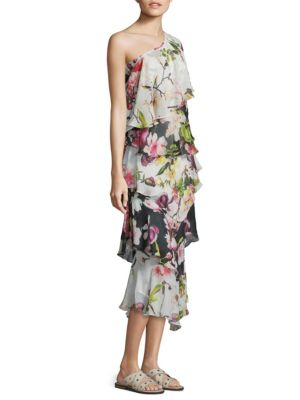 Floral Silk One-Shoulder Dress