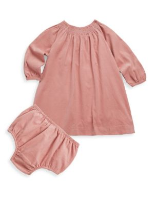Baby Girl's Two-Piece Smocked Corduroy Dress & Bloomers Set