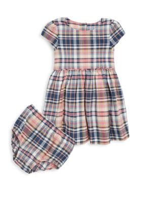 Baby Girl's Two-Piece Plaid Cotton Dress & Bloomers Set