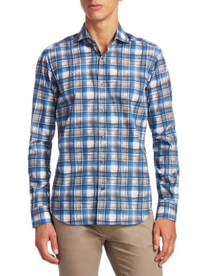 COLLECTION Watercolor Plaid Cotton Button-Down Shirt