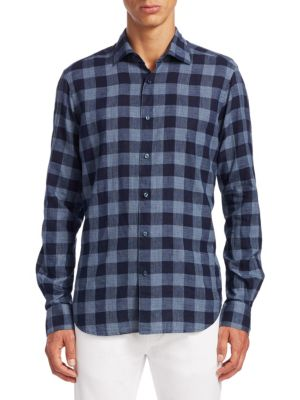 COLLECTION Plaid Casual Button-Down Shirt