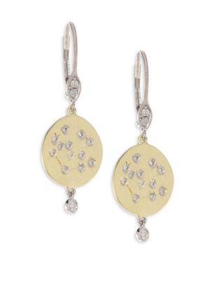 Diamond & 18K Yellow Gold Disc Earrings
