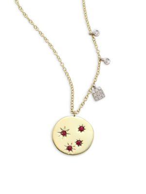 Diamond & Ruby Disc Necklace
