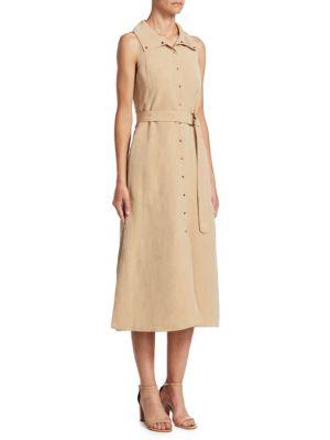 Belted Linen Shirt Dress