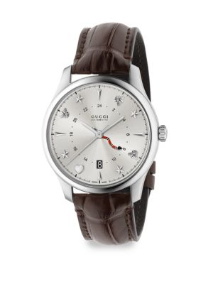 G-Timeless Analog Leather Strap Watch