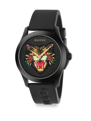 G-Timeless Angry Cat Rubber Strap Watch
