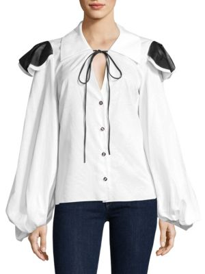 Jesse Ruffled Tie-Neck Blouse by Caroline Constas