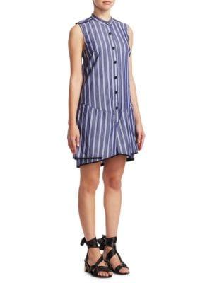 Stripe Cotton Flared Dress