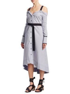 Stripe Cold-Shoulder Cotton Shirtdress