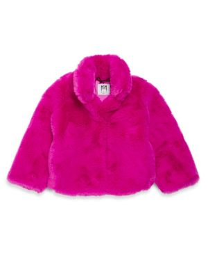 Toddler's, Little Girl's & Girl's Stand Collar Faux Fur Jacket