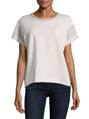 Walton Heathered Rolled Sleeve Cotton Sweatshirt