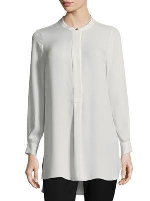 Long Sleeve Silk Henley Top