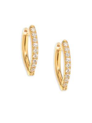 Christina Small Diamond & 18K Yellow Gold Hoop Earrings